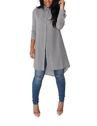 Aitos Femme Chemise Longue Fluide Elegante Chic Manches Longue Classique  Mini Robe de Mousseline de Soie 5dc632beb2e3