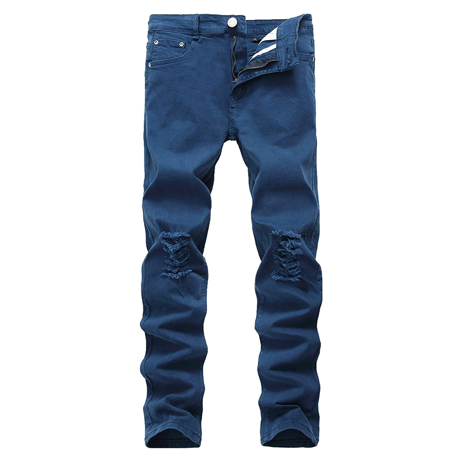 Pishon Men's Distressed Jeans Casual Solid Straight Leg Stretch Skinny Ripped Jeans by Pishon