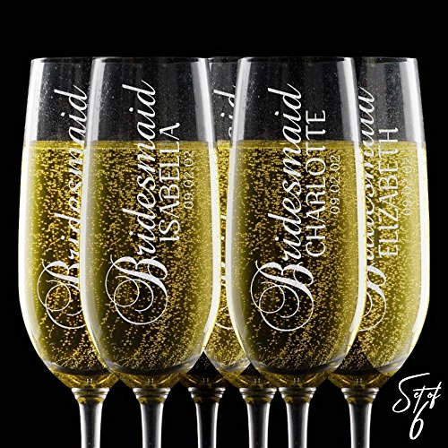 Set of 6, Personalized Champagne Flute Glasses - Any Title - Bridesmaid Wedding Gifts Toasting Flutes for Wedding Registry -2]()