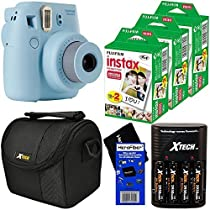 Fujifilm Instax Mini 8 Instant Film Camera (Blue) + Fujifilm Instax Mini Instant Film (60 sheets) + 4 AA High Capacity Rechargeable Batteries with Battery Charger + Well Padded Camera Case + HeroFiber Ultra Gentle Cleaning Cloth