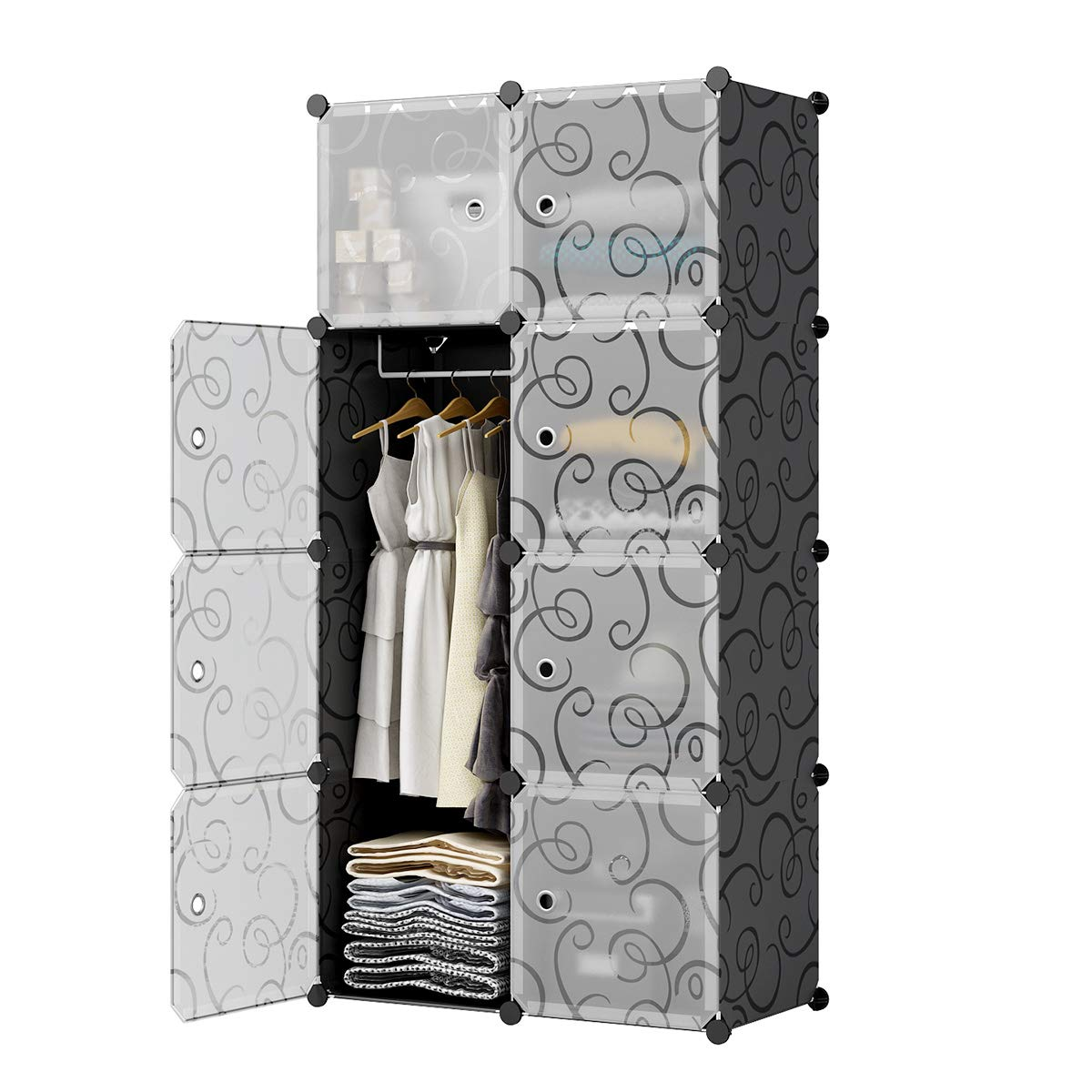 KOUSI Wardrobe Portable Closet Clothes Closet, (Black (Transparent Door), 5 Cubes + 1 Hanger)