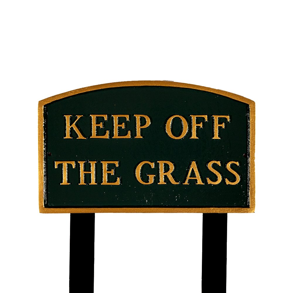 モンタギュー金属製品sp-27l-hgg-ls Largeハンターグリーン、ゴールドKeep Off The Grassアーチ文Plaque with 2 23-inch Lawn Stakes B00HRSOT5K