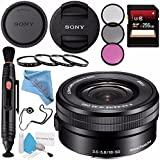 Sony E PZ 16-50mm f/3.5-5.6 OSS Lens SELP1650 + 40.5mm 3 Piece Filter Kit + 40.5mm Macro Close Up Kit + 256GB SDXC Card + Lens Pen Cleaner + Fibercloth + Lens Capkeeper + Deluxe Cleaning Kit Bundle