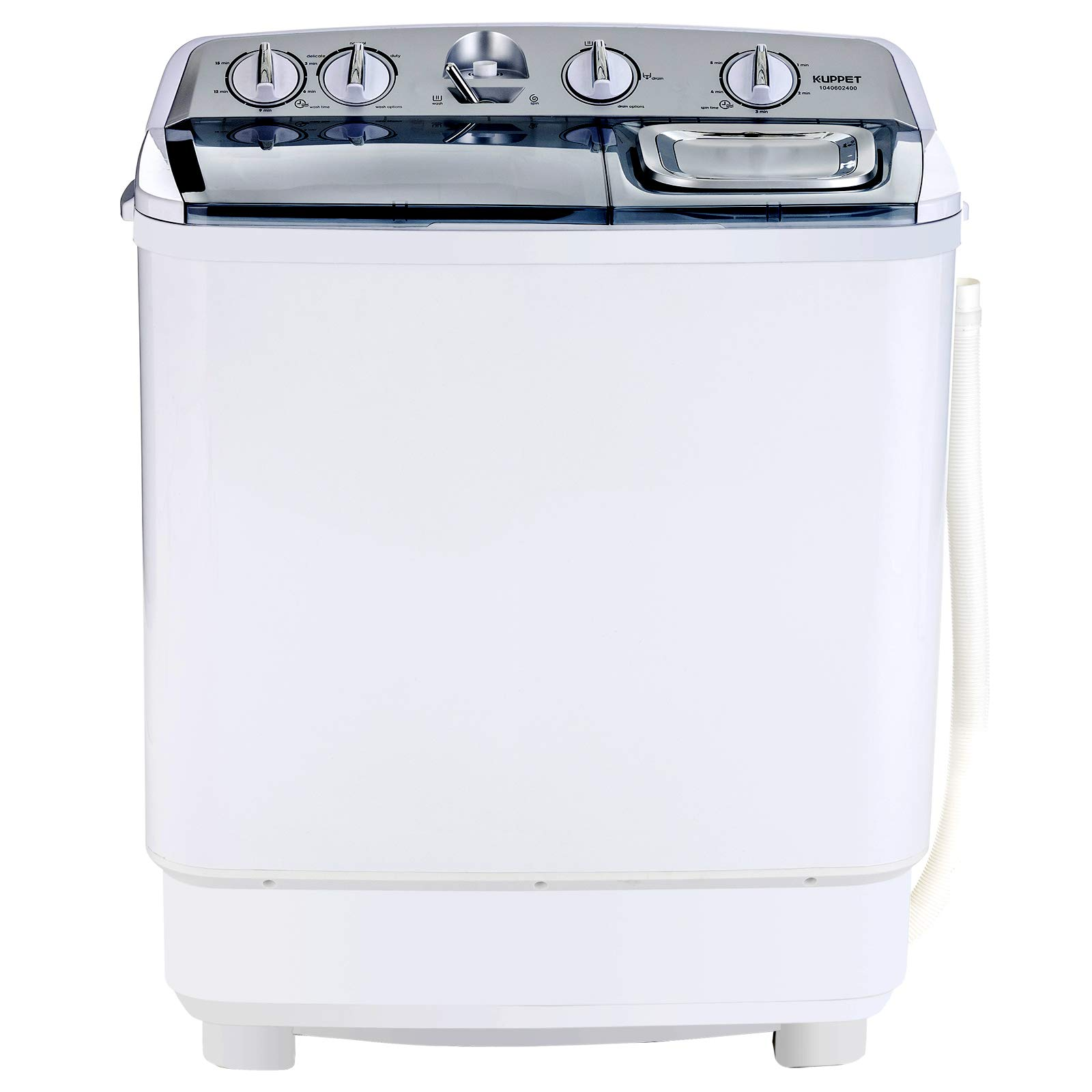 KUPPET Compact Twin Tub Portable Mini Washing Machine 21lbs Capacity, Washer(13lbs)&Spiner(8lbs)/Semi-Automatic (White&Silver)
