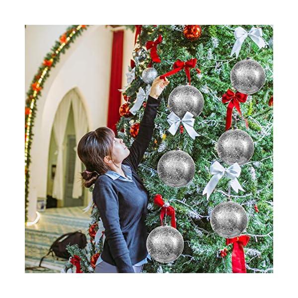 Palline di Natale Grandi Argento - Palline di Natale Argento da 19,5cm con Corda - Addobbi Natalizi Palle di Natale Argento - Palline di Natale Grandi in Plastica- Decorazioni Albero di Natale Argento 5 spesavip
