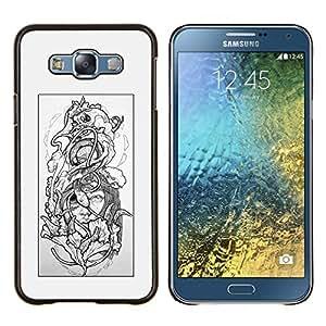"""Be-Star Único Patrón Plástico Duro Fundas Cover Cubre Hard Case Cover Para Samsung Galaxy E7 / SM-E700 ( Floral gris Mujer Pétalo Negro Blanco"""" )"""