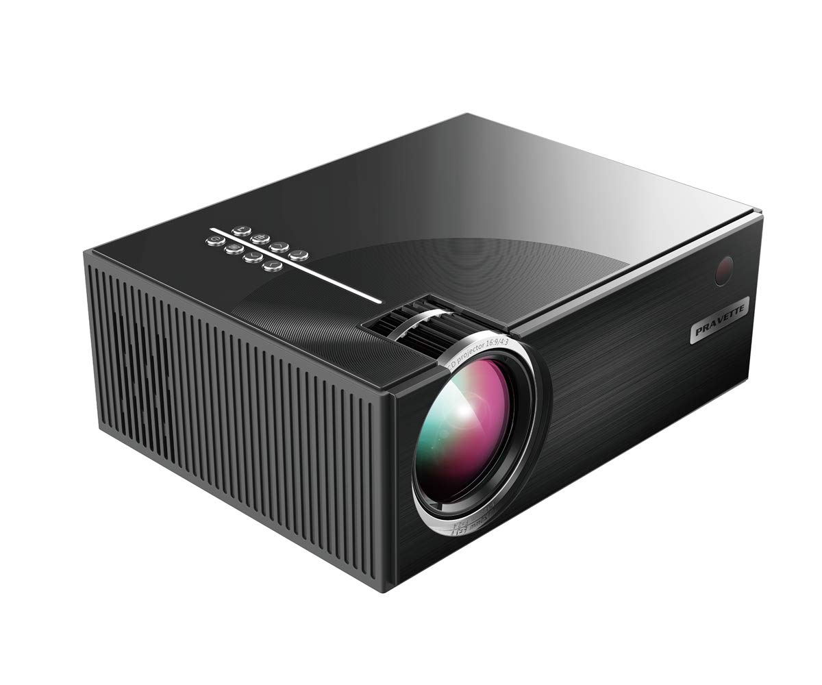 Projector, PRAVETTE Mini Portable Projector Home Entertainment Video 800X480 Resolution Support 1080p HDMI/USB/SD Fire TV Mac PC iPhone Android Phone DVD Gaming Chormecast