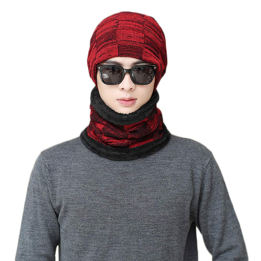 Men Fleece Lined Beanie Hat Scarf Set Winter Warm Knit Hat and Infinity Scarf Gift Set