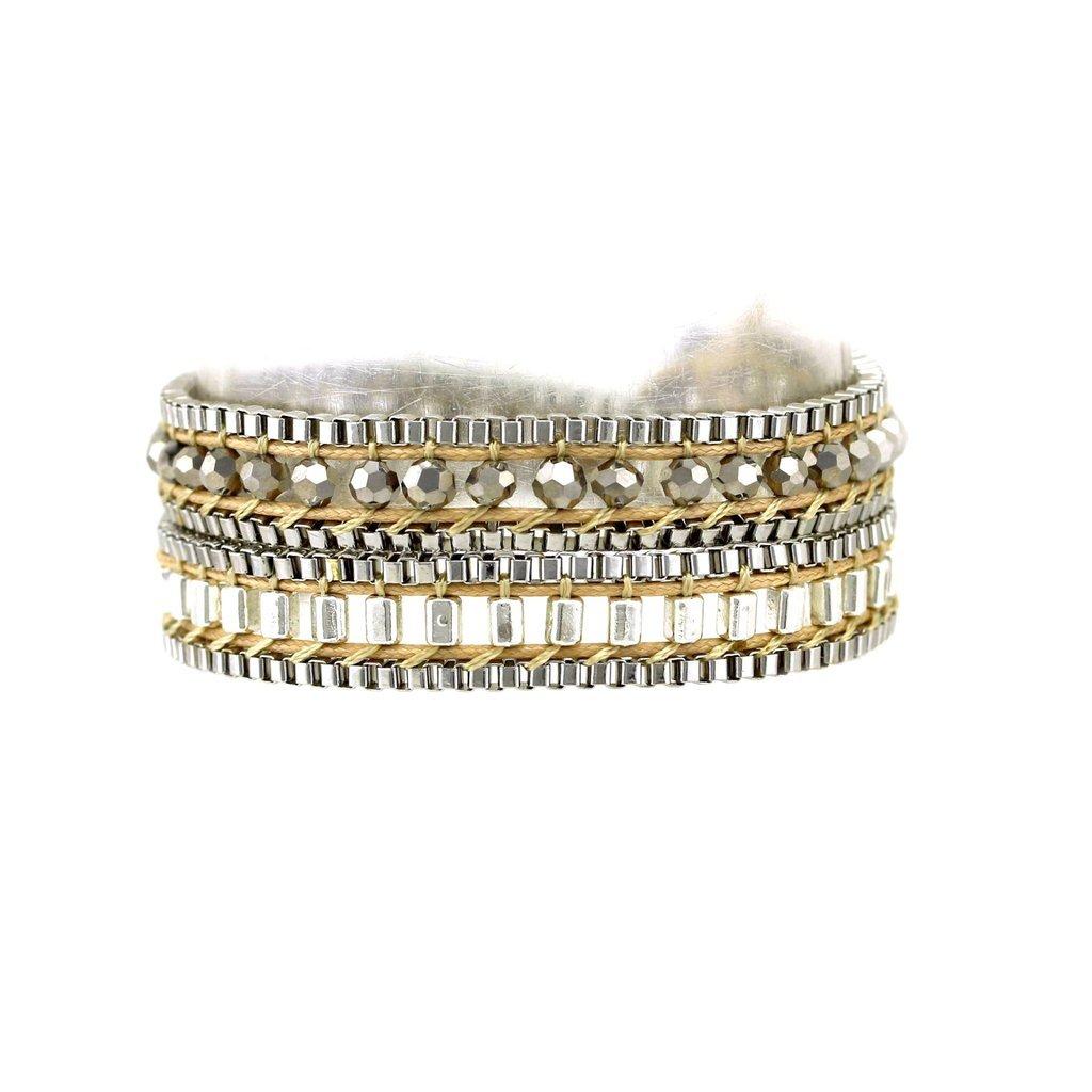 Beaded Double Wrap Bracelet Choker Bohemian Layered Style Gold & Silver for Women, Girls, Teens by Balla