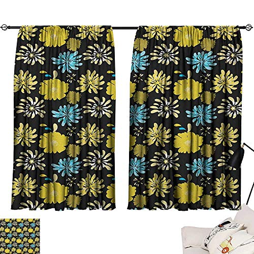 Floral décor Darkening Curtains Jasmine Daisy Peony Spider Mum Spray Different Flower Types Bouquet Curtain Door Panel Yellow Blue Charcoal Grey W72 x L63