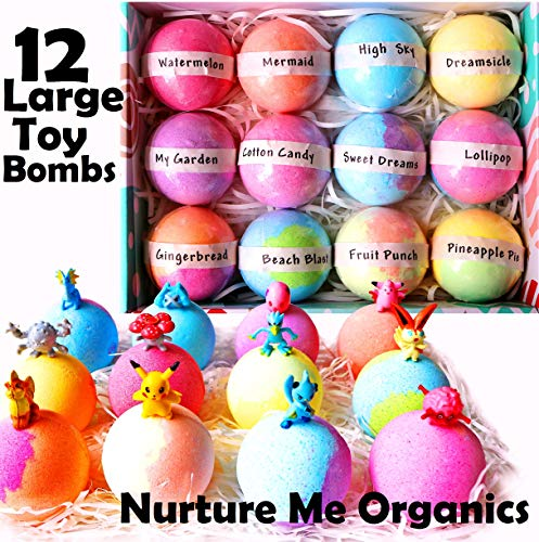 Kids Bath Bombs Gift Set. 12 Large Organic Bath Bombs with Surprise Inside. Make Bathtime Fun with Bath Bombs for Kids with Toys Inside! Great Birthday Gift box for Boys & Girls