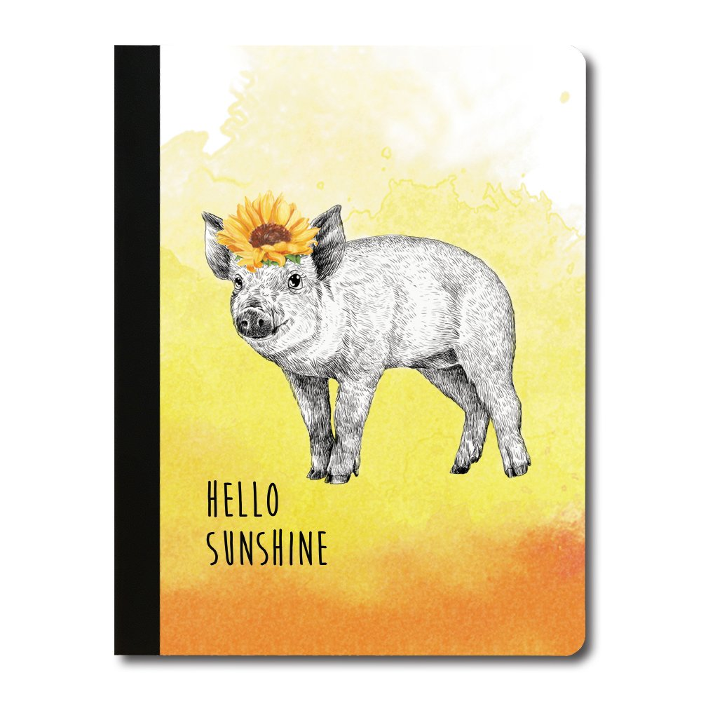 Tree-Free Greetings Boho Pig Soft Cover 140 Page Recomposition College Ruled Notebook, 9.75 x 7.25 Inches (CJ47102)