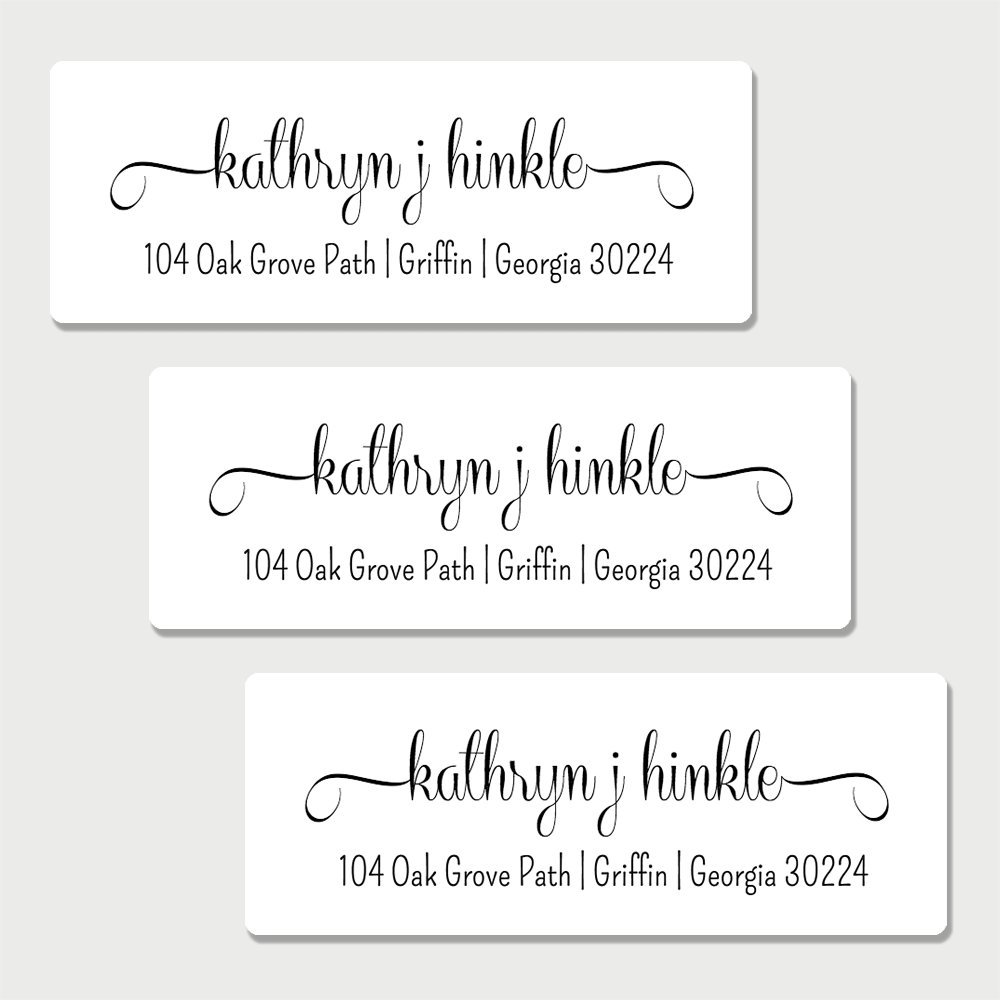 60 Personalized White Fancy Print Return Address Labels (AL6)