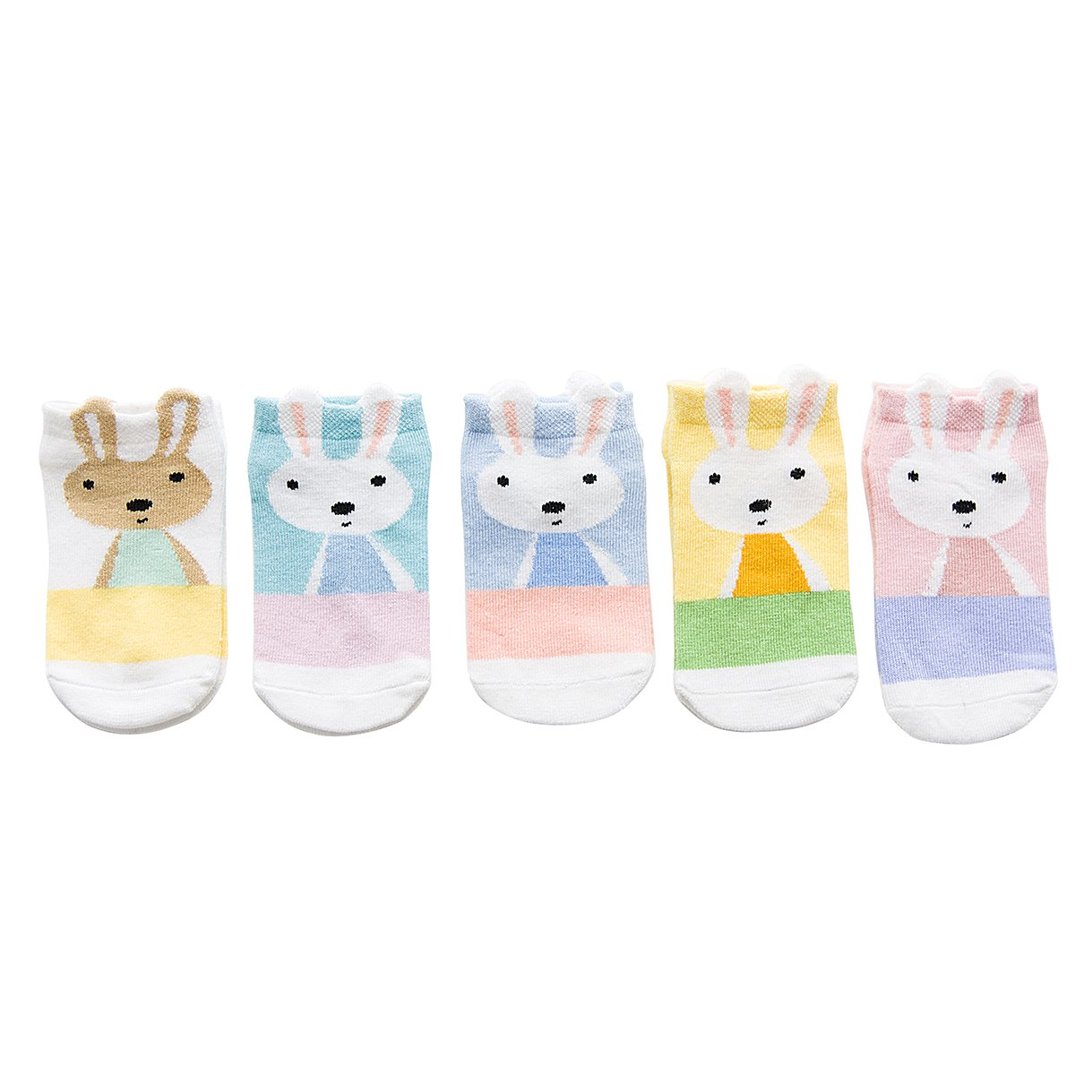 Rallytan Kids Crew Socks Cute Rabbit Pattern Ankle Basics Sock 5 Pairs Pack