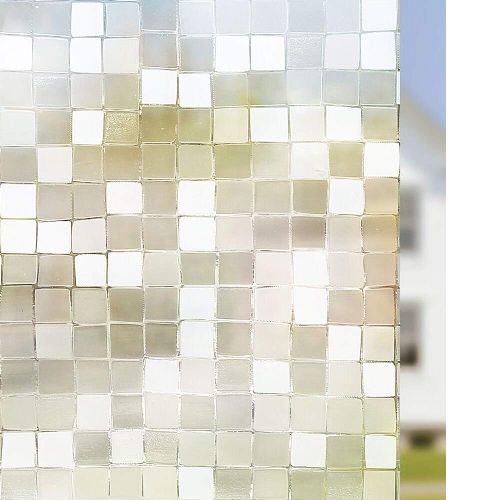 3D Window Film Window Privacy Film Static Decorative Film Heat Control Window Cling 3D No Glue Window Sticker Anti UV for Home Office Kitchen 60cm x 200cm Mosaic 23.6 x 78.7