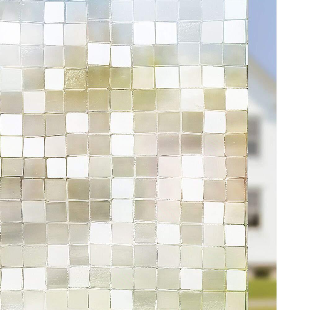 RABBITGOO 3D No Glue Static Privacy Window Film Decorative Glass Mosaic Film 35.4in. x 78.7in. (90 x 200cm)