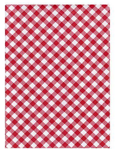 (American Plastics Vinyl Tablecloth Gingham Checked Design Flannel Back (Red/White, 52 x 104)