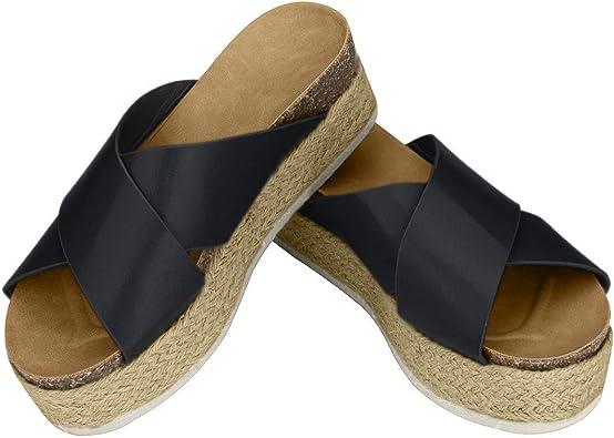 Women/'s Platform Espadrilles Slide-on Open Toe Faux Leather Studded Summer Sandals Comfortable Flatform Wedge Sandals