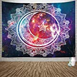 Sylfairy Tapestry Wall Hanging Boho Mandala Tapestry Psychedelic Tapestry Celestial Starry Sky Moon Wall Tapestry Art Home Decoration for Bedroom Living Room Dorm 82' X 59'(Mandala)