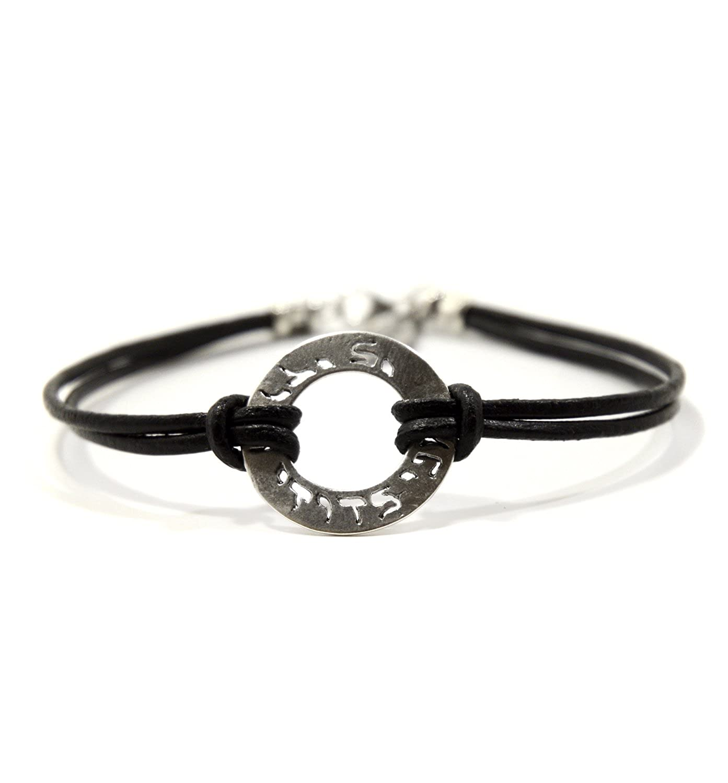 Mizze pour Luck Bijoux Cuir Noir I Am My Beloved Bracelet à breloques pour homme Mizze Made For Luck Jewelry MZ8027BK-M
