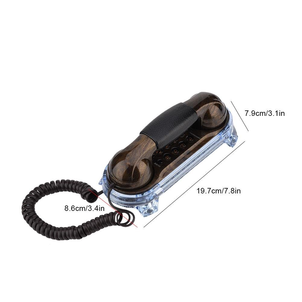 Antique Telephone Corded Elegant Phone Retro Style Trimline Telephones Landline with Metal Buttons Blue Incoming-Call Flashlight for Home Hotel Red Copper