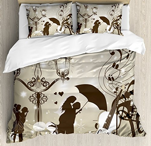 (Ambesonne Romantic Duvet Cover Set, Kissing Couples on Street with Lanterns Violin Music in Love Valentine's Theme Art, A Decorative 3 Piece Bedding Set with Pillow Shams, Queen/Full, Dust Dark Taupe)