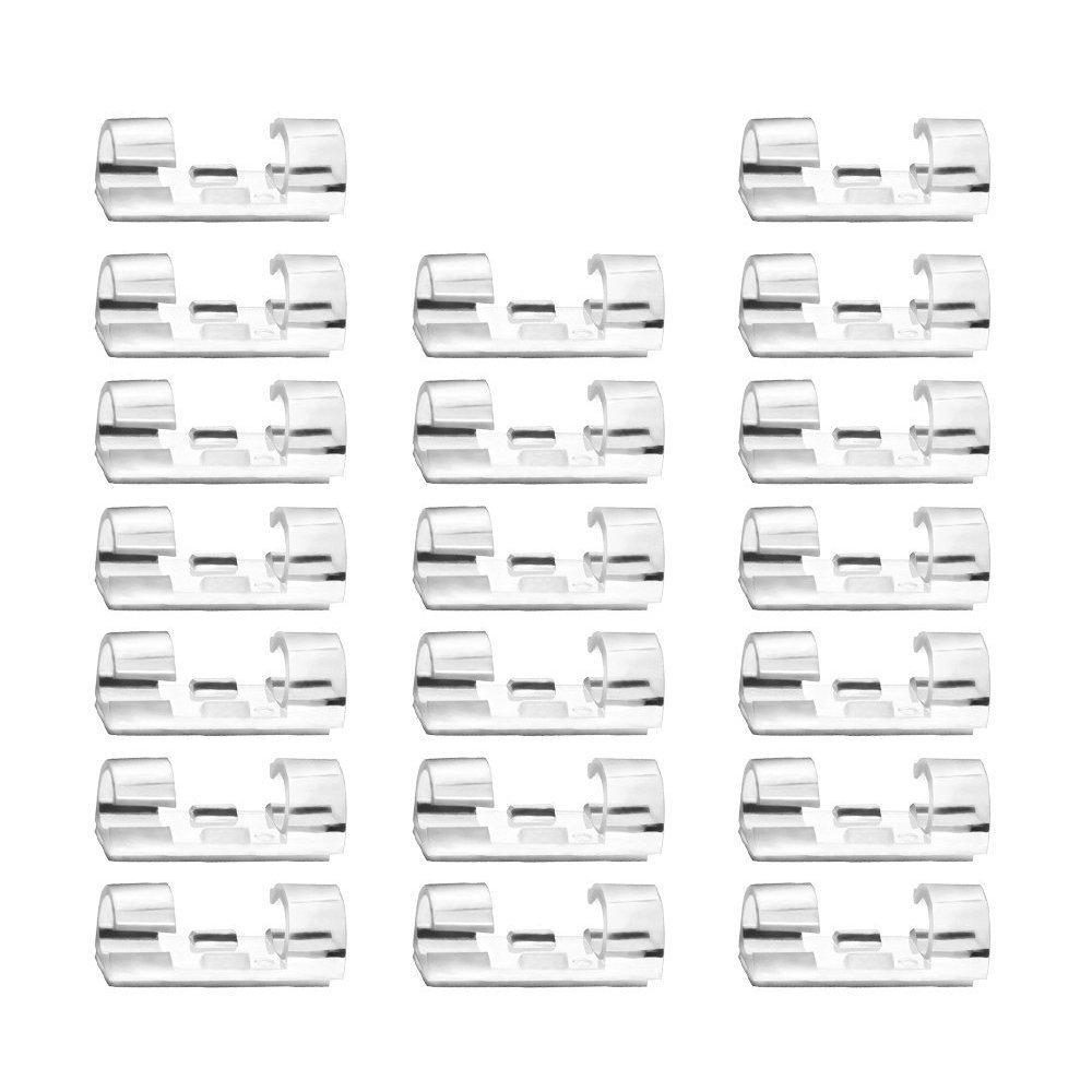 Auto-Adh/ésif C/âble Support Pince de C/âble Transparent Pack de 20