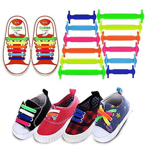 one Shoelaces Tieless Elastic Lace Lock Bands for Kids, Adults Athletic Running Shoe Laces,Seakers (Kids Size Colorful) … ()