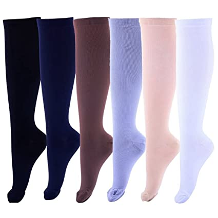 36b819f9ee Eswala Compression Socks Foot Long Stockings Football Slim Leg High  Graduated Anti Fatigue Varicose Veins Socks for Men Women Supports Sport  Running Cycling ...
