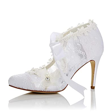 cea22a2706fe9 JIAJIA 16798 Women's Bridal Shoes Closed Toe High Heel Lace Satin Pumps  Pearl Bowknot Ribbon Tie Wedding Shoes