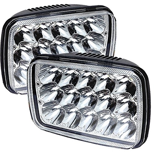 TURBOSII DOT Approved 5x7 7x6 LED Headlight Hi/Lo Sealed Beam Replace H6054 Hid headlamp Jeep Wrangler JK Cherokee XJ YJ JKU 4x4 Toyota Tacoma pickup Dodge Ram Ford F250 E350 Chevy Corvette van 2PCS