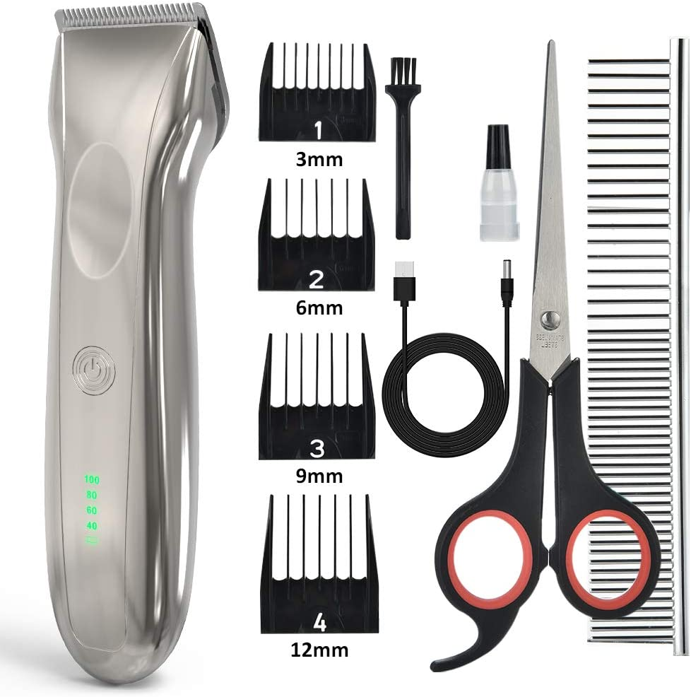 AUSHEN Dog Clippers, Dog Grooming Clippers with High Power for Thick Heavy Coats Professional Rechargeable Cordless Low Noise Dog Hair Shaver for Small & Large Dogs Cats and Other Pets