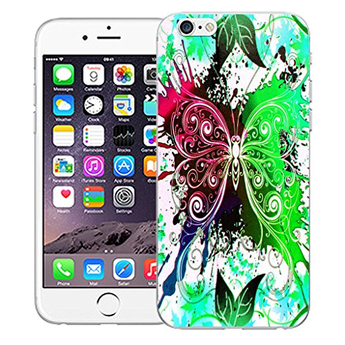 """Mobile Case Mate iPhone 6S 4.7"""" Silicone Coque couverture case cover Pare-chocs + STYLET - Green Dragonfly pattern (SILICON)"""