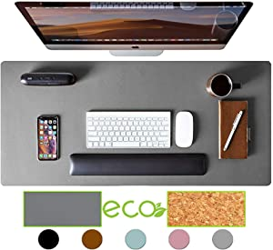 "Aothia Eco-Friendly Natural Cork & Leather Double-Sided Office Desk Pad & Mat Mouse Pad Smooth Surface Soft Easy Clean Waterproof PU Leather Desk Protector for Office/Home Game (Gray,36""x17"")"