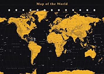 Amazon map of the world gold reference chart giant poster 546 map of the world gold reference chart giant poster 546x39 gumiabroncs Image collections