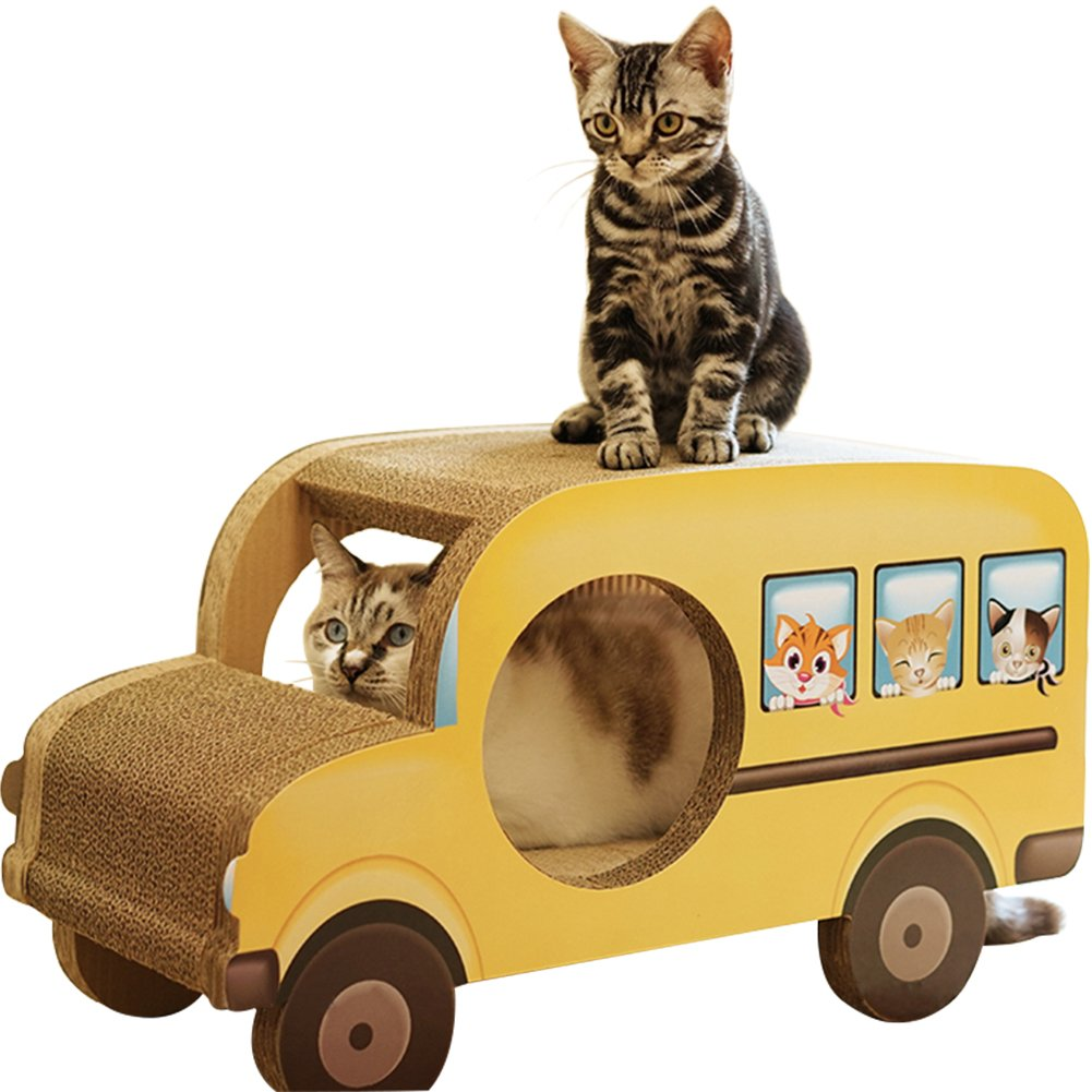 WINGOFFLY Luxurious Cat Scratcher Bus Lounge 24''x11''x14'' Cardboard Furniture Construction by WINGOFFLY