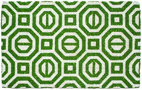 Entryways Georgian Geo Hand-Stenciled, All-Natural Coconut Fiber Coir Doormat 22 X 35 x .75