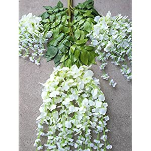 Miyaya 24 Pieces Realistic Artificial Silk Wisteria Vine Ratta Silk Hanging Flower Plant for Home Party, Wedding Decor and Other Various Events - Each White 2