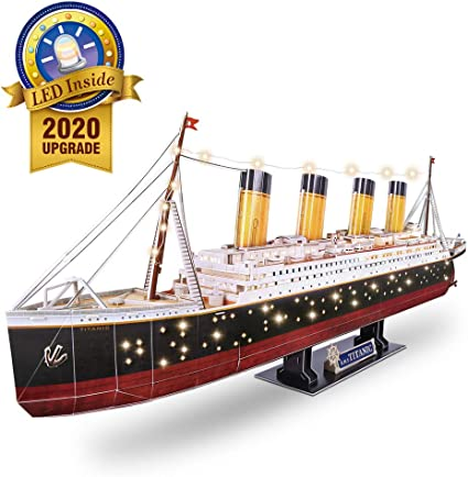Amazon Com Cubicfun 3d Puzzles For Adults Rms Titanic Ship Toys Model Kits 34 6 Difficult Watercraft Jigsaw Family Puzzles And Cruise Ship Room Decor Gifts For Women And Men 266 Pieces Large With Leds