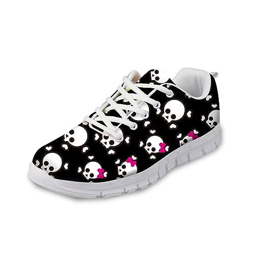 86dabf2686923 Bigcardesigns Women&Men Skull Lace up Breathable Ultralight Sneaker Sport  Shoes