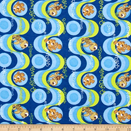 Disney Finding Nemo Flannel Blue Fabric by The Yard