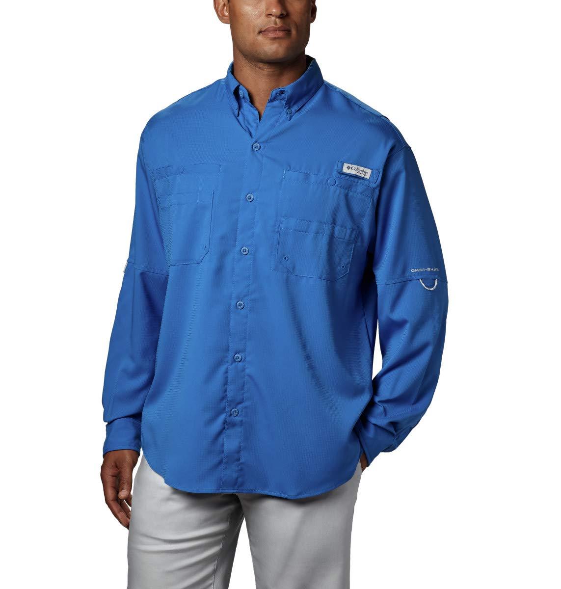 Columbia Men's PFG Tamiami II Long Sleeve Shirt - Big , Vivid Blue, X-Small