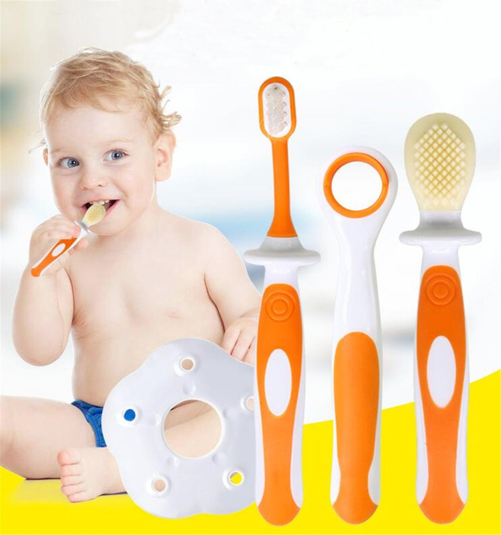 3Pcs/Set Toothbrush Clean Suits Newborn Baby Silicone Soft Bristle Training Toothbrush Learning Teethbrush Infant Oral Care Brush