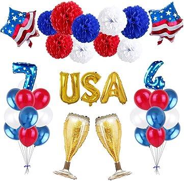 EE.UU. Partido Hincha EE.UU. Bandera Globo En Forma De Estrella De Látex Globos Día De La Independencia Globos Partido De La Decoración Para El Festival De Las Decoraciones 18inch 1Ponga: Amazon.es: Juguetes