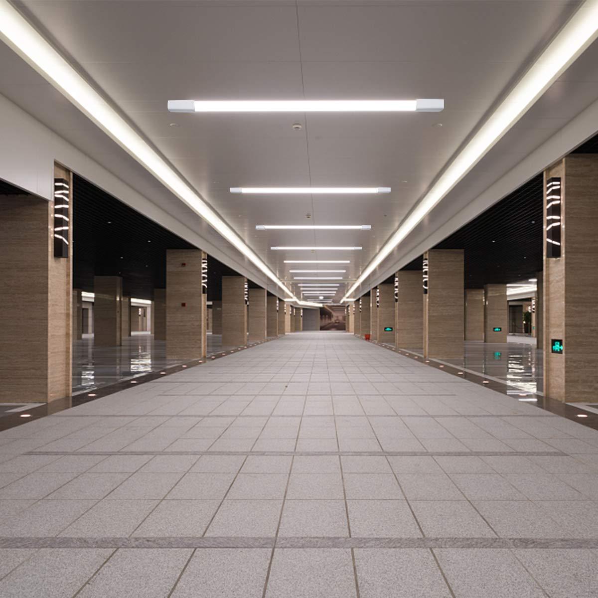 Airand 60CM 18W LED IP66 Luminaire Officina luce 4000LM Plafoniera Bianco Naturale Tubo Lampada Impermeabile Luce per Garage Ufficio Supermercato Cantina Officina Bagno Cucina Plafoniera da Officina