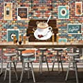Amazhen Custom Wallpaper Coffee Stamp 3D Stereo Brick Wall murals Fashionable Cafe Decoration Background Wallpaper