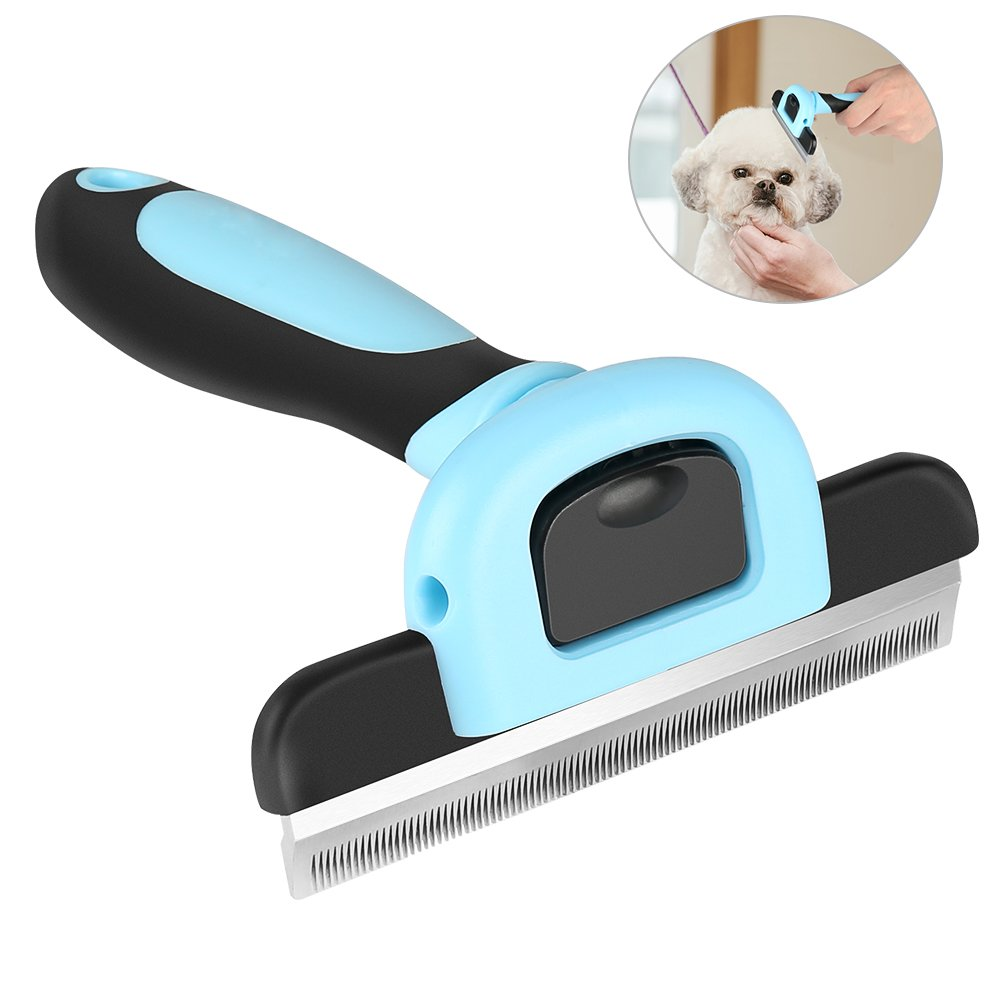 WU CHUNLING Deshedding Tool - Pet Hairs Shedding Tool with Stainless Steel Trimming Blade, Grooming Brush Rake Effectively Reduces Shedding.