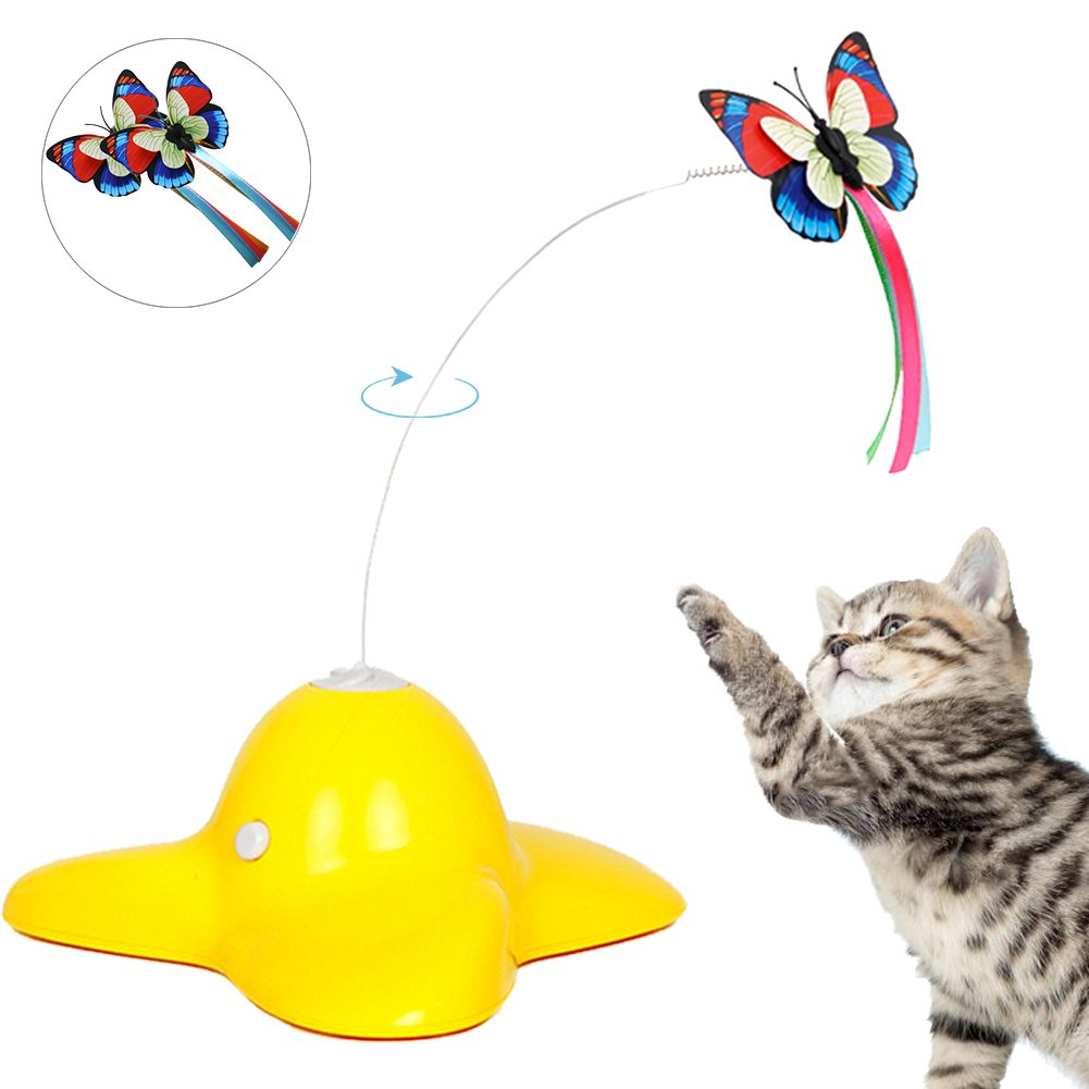 Bascolor Electric Rotating Butterfly Cat Toys Two Flashing Butterflies Interactive Cat Teaser Toy