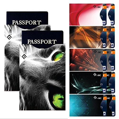 I3C Étui Carte de Crédit Passeport Blocage RFID Antivol Pochette Protecteur (10 Cartes de Crédit & 2 Passeports), Style 6