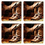 Barn Wood Coffee Tables for Sale MSD Natural Rubber Square Coasters IMAGE ID: 11356330 American West rodeo cowboy traditional leather working rancher roper boots with authentic Western riding spurs in a vintage ranch barn with ranchi